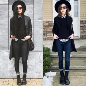 Two women in grunge combat style boots, Doc Marten stiff heeled boots and Ahinsa Jaya, a vegan flexible, foot shaped combat style boot.