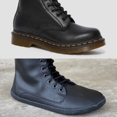 A comparison of flat flexible Ahinsa Jaya boots and Doc Marten grunge combat style boots.