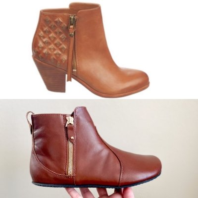 A comparison of Shapen Ivy barefoot leather ankle boot and a popular heeled ankle bootie style