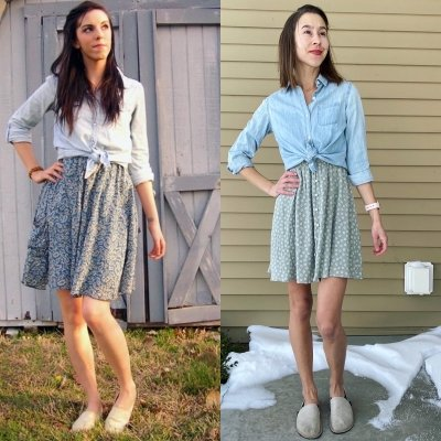 Two woman wearing similar outfits in similar poses wearing Toms and Unshoes Terra Vida, a vegan barefoot casual shoe