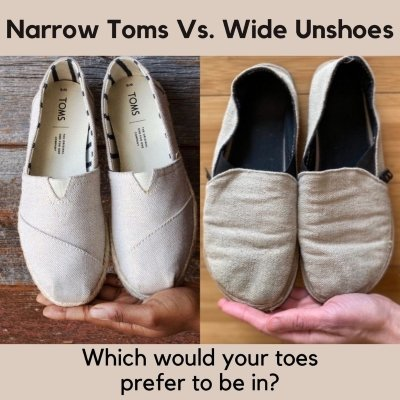 Side by side of Toms shoes and Unshoes Terra Vida barefoot casual shoes