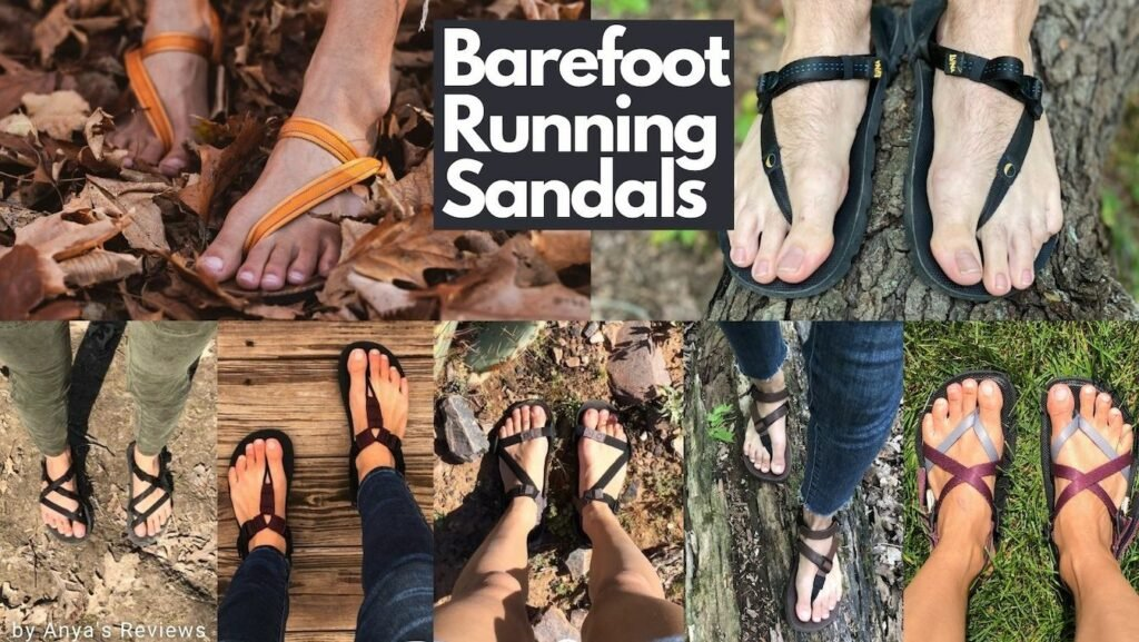a collage of different barefoot running sandals from the brands Unshoes, bedrock, earth runners, luna, shamma, and xero