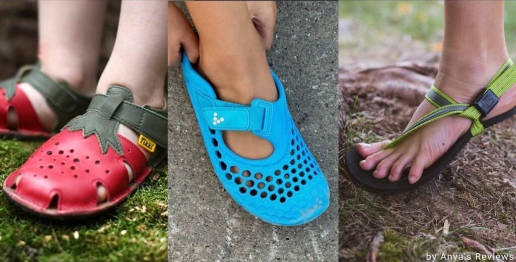 a collage of different barefoot summer sandals for kids