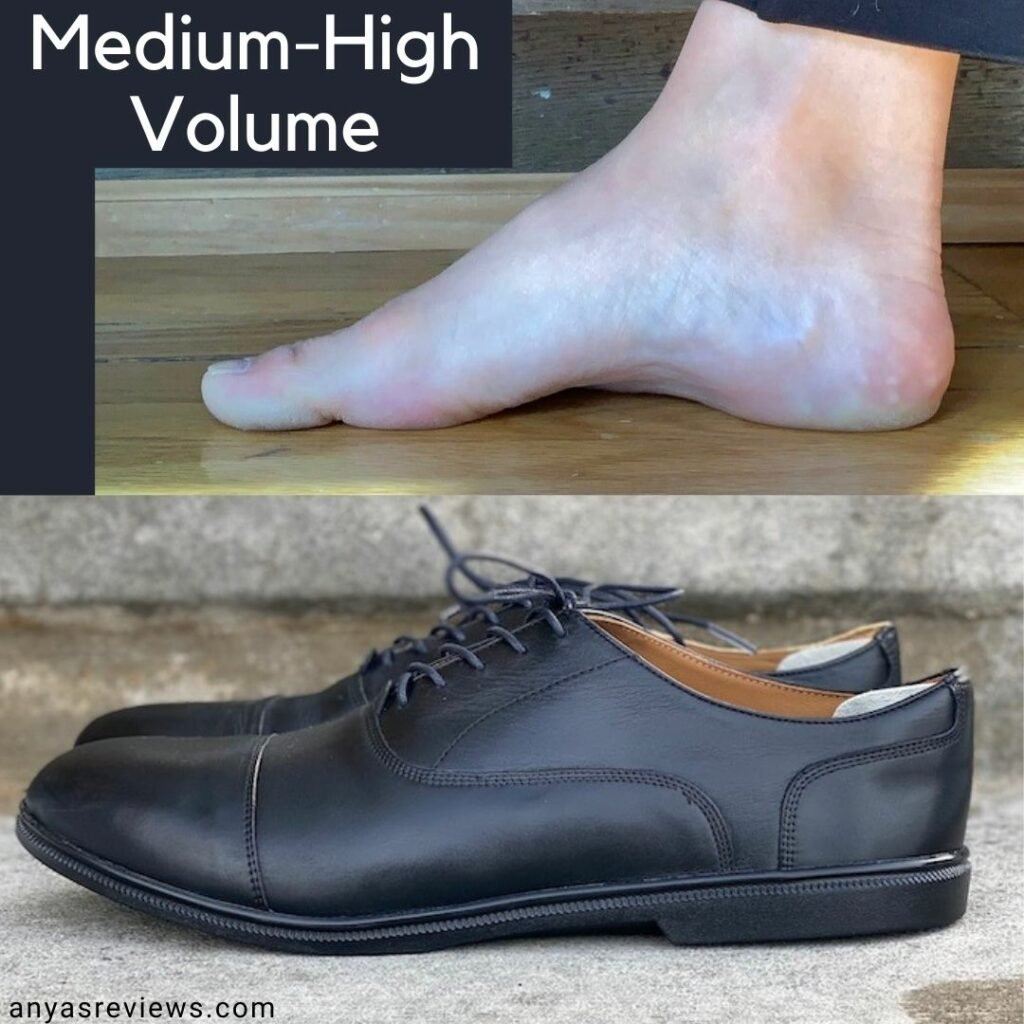 A collage of a pair of Carets dress shoes and the type of foot volume they can accomodate. The shoes are shown in the bottom photo and a medium-high volume foot is shown from the side on top.