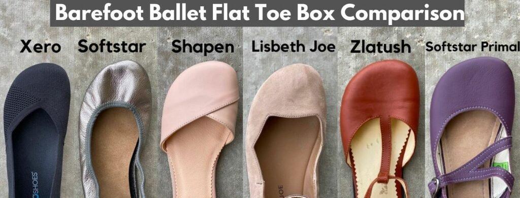barefoot ballet flat width comparison collage