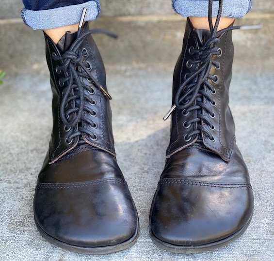 A close up front view of a pair of bespoke custom barefoot leather boots by Gaucho Ninja