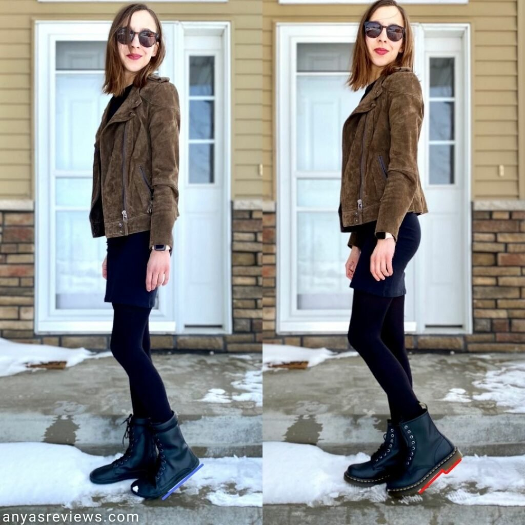 A side by side of the same woman in the same outfit. In the left photo she is wearing zero drop flexible Ahinsa jaya boots. In the right she is wearing stiff heeled Doc Martens