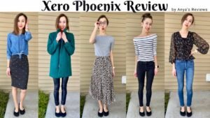 """A 5 photo collage of the same woman wearing 5 different outfits with Xero Shoes Phoenix black knit dress flats. The text at the top reads, """"Xero Phoenix Review by Anya's Reviews"""""""