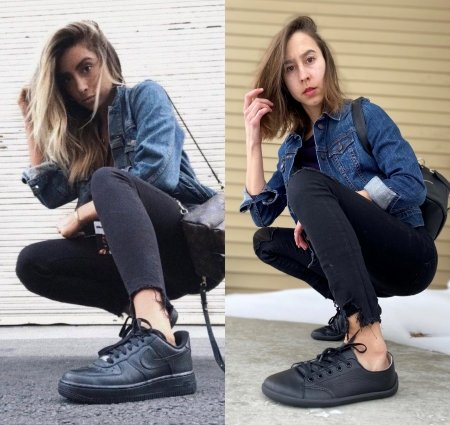 A side by side collage of 2 different women wearing identical outfits. They are both crouched down with their foot near the camera wearing black sneakers, jean jackets, and distressed black jeans. The woman on the left is wearing black Nike sneakers, and the woman on the left is wearing zero drop flexible foot shaped Be Lenka Prime in all black.