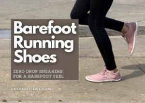 "A thigh down photo of a woman's legs running in Vivobarefoot pink sneakers. The text title says ""Barefoot Running Shoes - zero drop sneakers for a barefoot feel"""