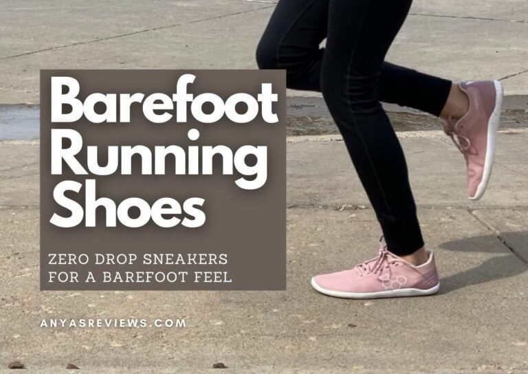"""A thigh down photo of a woman's legs running in Vivobarefoot pink sneakers. The text title says """"Barefoot Running Shoes - zero drop sneakers for a barefoot feel"""""""