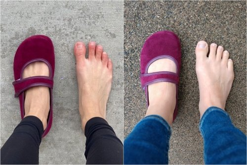 A side by side comparison of 2 different people's feet in the same shoe. The left side of the image shows an unsecure fit and the right shows a secure fit on a wide high volume foot.