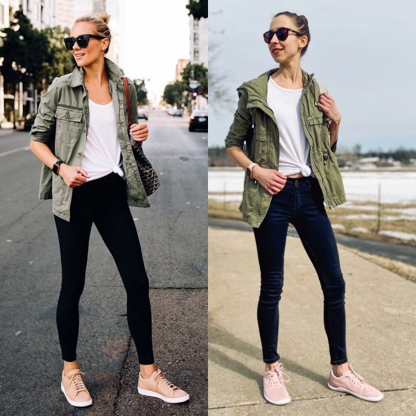 Side by side collage of 2 woman in identical outfits wearing pink athletic sneakers. The woman on the right is wearing the Geo Racer II in blush pink from Vivobarefoot - a zero drop running shoe.