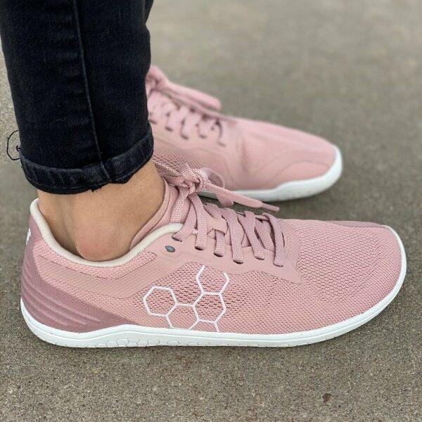 Close up of zero drop running sneakers from Vivobarefoot Geo Racer II in blush pink