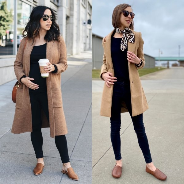 2 Women wearing similar outfits - black pants and shirts with camel colored jacket and brown loafers. The shoes on the left woman are pointy and narrow. The shoes on the right are foot shaped Khussa Loafers from FeetSutra