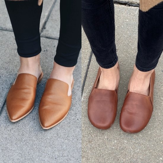 A close up side by side of FeetSutra Khussa barefoot loafers and conventional pointy loafers.