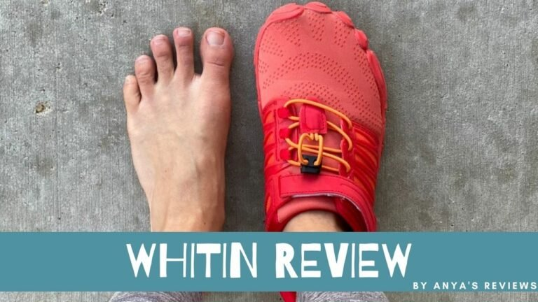 Whitin Review by Anya's Reviews with a top down shoe and barefoot photo behind the text