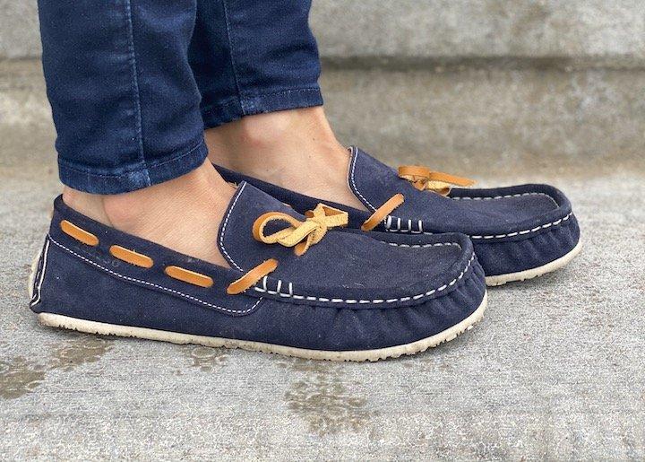 Top angled close up of Zeazoo Cheetah zero drop flexible vibram soled loafers.