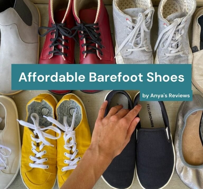 A woman's hand reaching for a pair of barefoot shoes amongst a bunch of others. The overlaid text reads Affordable Barefoot Shoes by Anya's Reviews