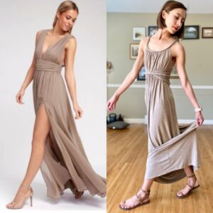 Side by side Collage of two women wearing floor length tan dresses with fancy shoes. The left is wearing heeled sandals, and the right is wearing High Feels - a barefoot alternative to dress sandals.
