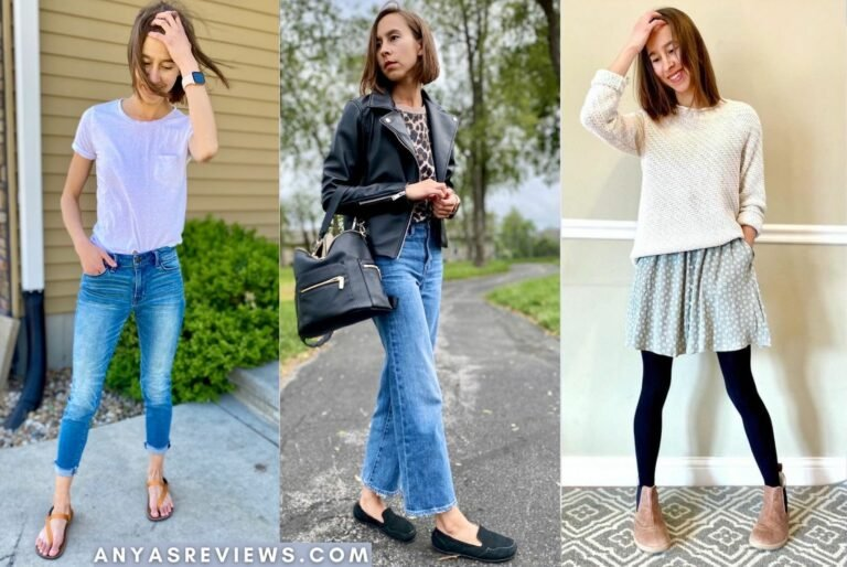 A 3 photo collage of the same woman in 3 outfits featuring 3 different fashionable barefoot shoes - Earth Runners in sunset orange, Lisbeth Joe London black leather loafers, and Angles Fashion Artemis Chelsea boots