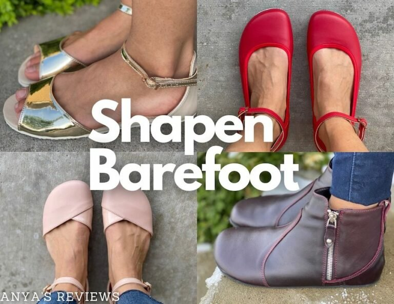 A collage of 4 styles of foot friendly shoes from Shapen Barefoot - Lily, Poppy, Ivy, and Tulip.