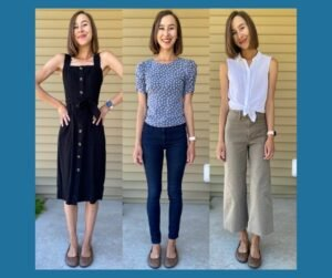 A 3 photo collage with a blue background featuring the same woman in 3 distinct outfits to show the styling versatility of Softstar Ballerines in aged acorn.