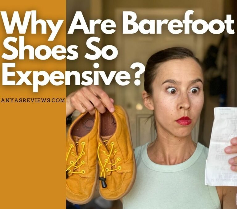 """A title image showing a woman staring bug-eyed at a receipt while holding a pair of barefoot shoes. The text reads """"WHy are barefoot shoes so expensive? anyasreviews.com"""""""