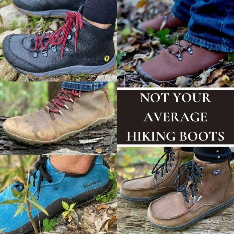 Not Your Average hiking Boots collage showing Joe nimble, Freet, Vivobarefoot, Lems, and Be Lenka