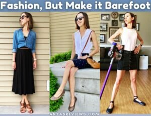 Fashion, but Make it Barefoot cover photo featuring 3 unique outfits and barefoot shoes by Ela Faustus, Softstar, and vivobarefoot.