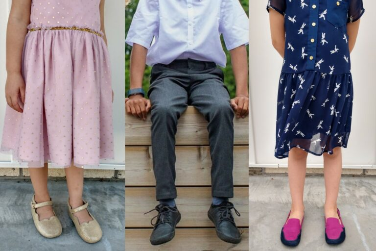 3 Photo Collage of 2 girls and a boy wearing dress clothes and barefoot dress shoes - Little Love Bug company, Vivobarefoot, and Lisbeth Joe