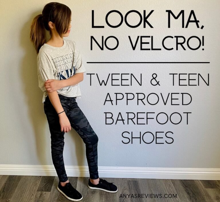 Text over image reads, Look Ma, No velcro! Tween & Teen Approved barefoot Shoes. The image has a tween in a moody stance wearing Feelgrounds orignal black lace up mesh sneakers.