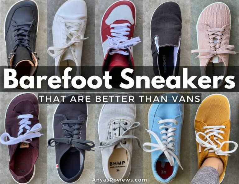 """10 cool barefoot sneakers collage with overlay words that reads """"Barefoot Sneakers that are better than vans"""" anyasreviews.com"""