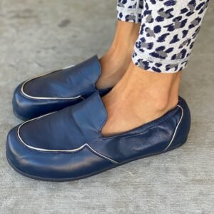 Front/Side view of Lisbeth Joe London Loafers in Navy with metallic trim.