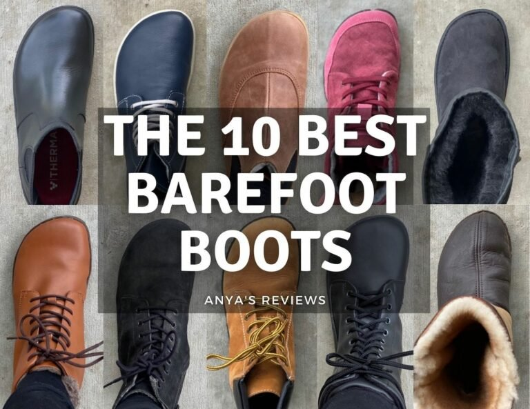 """Text overlay """"The Top Best Barefoot Boots by Anya's Reviews"""" with a collage of 10 different boots - Vivobarefoot, Be Lenka, Angles Fashion, Wildling, Zeazoo, Zaqq, Mukishoes, Groundies, Ahinsa, and Softstar"""